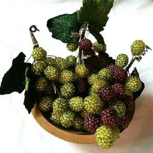 Beaded Grape Clusters (3) & Wooden Bowl